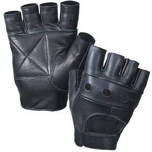 Black Leather Fingerless Biker Gloves  Cycling Wheelchair