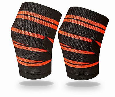 Power Lifter Weight Lifting Knee Wraps Supports Gym Training Pair Red Line