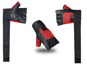 FITNESS TRAINING BODY BUILDING GYM STRAPS WEIGHT LIFTING PADDED LEATHER GLOVES