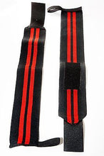 Power Lifting Heavy Duty Wrist Wraps  Supports Training Thumb Loop Black/Red 18""