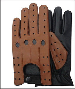 TOP QUALITY REAL SOFT LEATHER MENS UNLINED FASHION DRIVING GLOVES TAN/BLACK