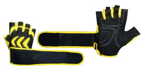 FITNESS WEIGHT LIFTING & CROSSFIT TRAINING PADDED GYM LONG WRIST STRAP GLOVE'S