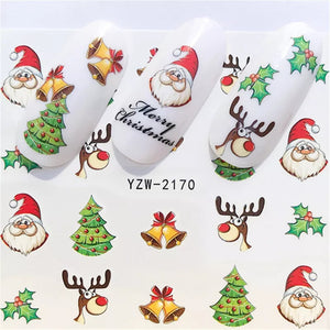 Colourful Christmas Nail Art Decals