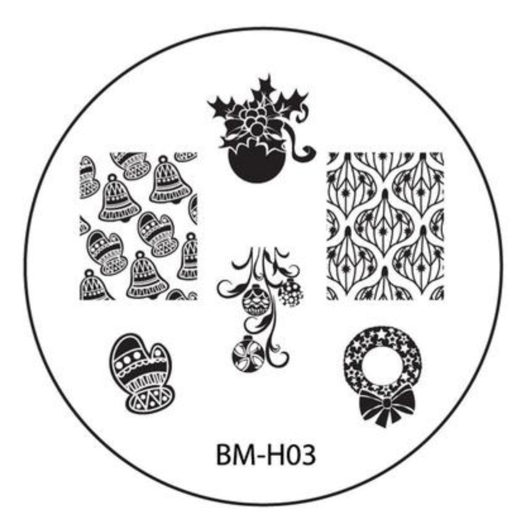 Holiday Nail Stamping Plate BMH03 - Knitted Mittens Bells + Ornaments - Nirvana Nail and Beauty Supplies