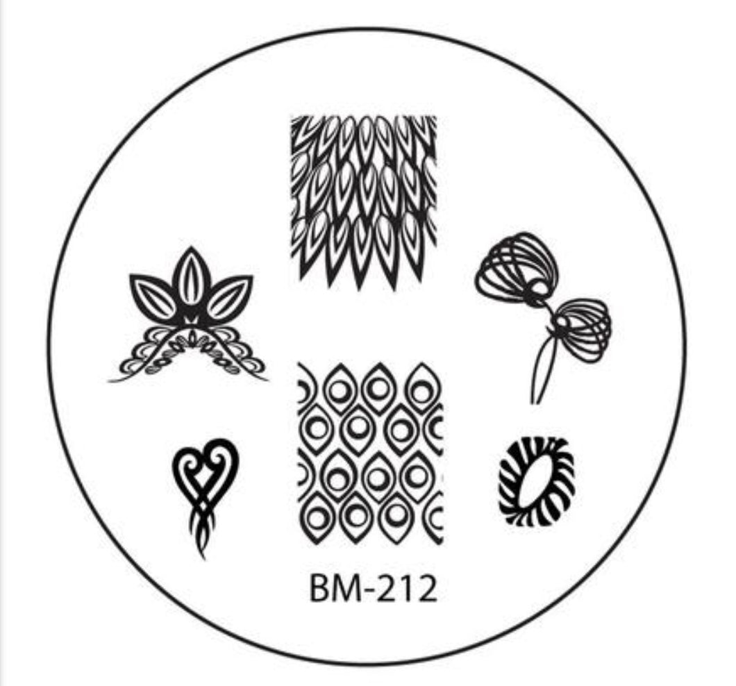 Bundle Monster Tribal Heart and Spiked Feathers Stamping Plate - Nirvana Nail and Beauty Supplies