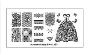 Bombshell Baby XL Nail Stamping Plates (BM-XL360): Oh That Lace - Nirvana Nail and Beauty Supplies