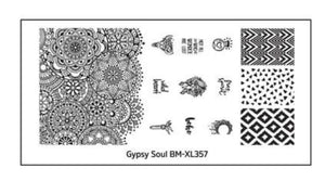 Gypsy Soul XL Nail Stamping Plates (BM-XL357): Boho - Nirvana Nail and Beauty Supplies
