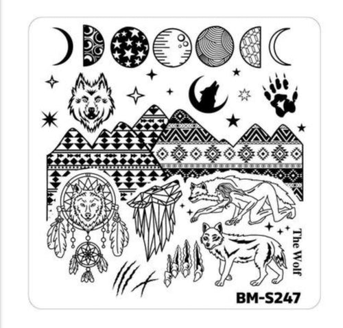 Bundle Monster Halloween Stamping Plate - House of Horrors, She-Wolf Spirit - Nirvana Nail and Beauty Supplies