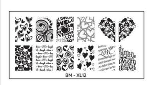 Bundle Monster Full NAIL Design XL Stamping Plate - Infatuated - Nirvana Nail and Beauty Supplies