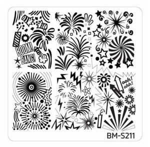 New Years Eve Themed Nail Art Stamping Plates - Occasions Collection, BM-S211: OOH! Ahh! - Nirvana Nail and Beauty Supplies