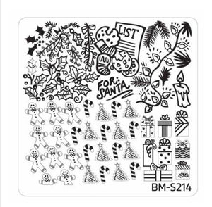 Christmas Themed Nail Art Stamping Plates - Occasions Collection, BM-S214: For Santa - Nirvana Nail and Beauty Supplies