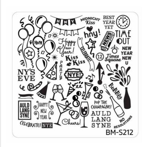 New Years Eve Themed Nail Art Stamping Plates - Occasions Collection, BM-S212: NYE Celebration! - Nirvana Nail and Beauty Supplies