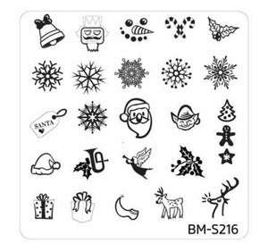 Christmas Themed Nail Art Stamping Plates - Occasions Collection, BM-S216: Holly Jolly - Nirvana Nail and Beauty Supplies