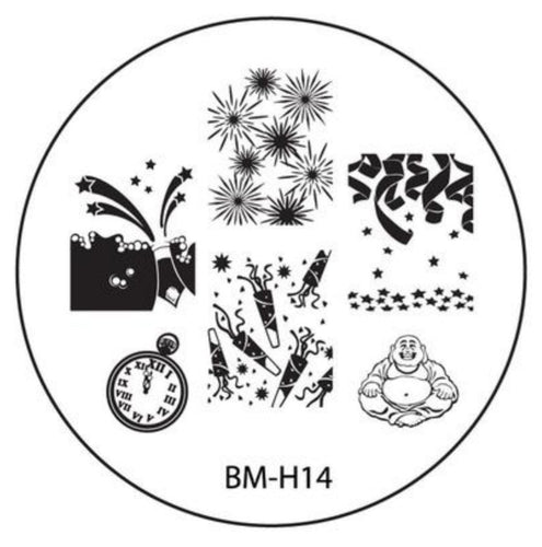 Holiday Nail Stamping Plate BMH14 - New Years Eve + Happy Buddha - Nirvana Nail and Beauty Supplies