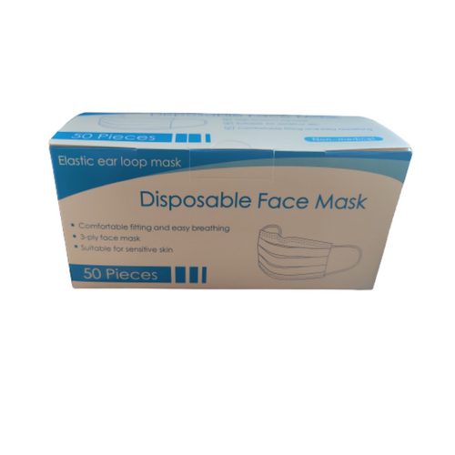 Box of 50 3 Ply Disposable Face Masks