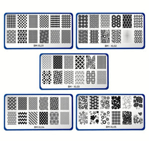 Full Nail Designs Set 1 Complete Collection of 10 XL Stamping Plates (XL01-XL10)
