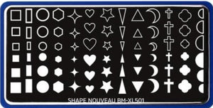 Shape Nouveau: Back to Basics (XL501) - layered stamping plates - Nirvana Nail and Beauty Supplies