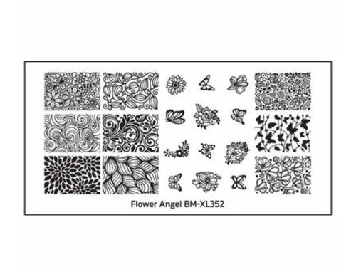 Bundle Monster Flower Angel XL Nail Stamping Plates (BM-XL352): Butterfly Wings - Nirvana Nail and Beauty Supplies