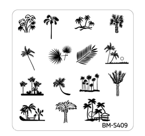 Bundle Monster Hangloose Nail Art Manicure Stamping Plate - BM-S409, Palms Galore - Nirvana Nail and Beauty Supplies