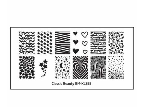 Bundle Monster Classic Beauty XL Nail Stamping Plates (BM-XL355): Hearts + Stars - Nirvana Nail and Beauty Supplies