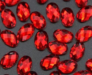 Goddess Siam Oval Flatback Crystals 4mm x 6mm 10 Pack
