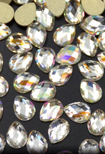 Goddess AB Teardrop Crystals 6 x 8mm 10 Pack