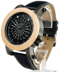 Automatic Bamboo Watch with Genuine Leather Band - M07