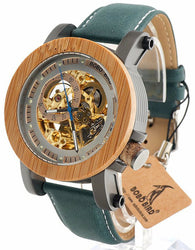 Automatic Bamboo & Stainless Steel Wooden Watch