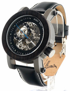 Automatic Ebony Watch with Genuine Black Leather Band - K10
