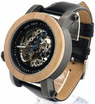 Automatic Bamboo Watch w. Stainless Steel & Genuine Black Leather Band