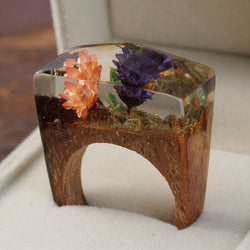 Ethereal Blossoming Flowers - Secret World Wood & Resin Ring