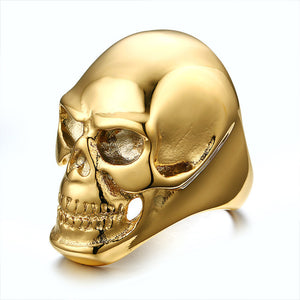 Punk Style Gothic Men's Biker Stainless Steel Ring Fashion Skull Cool Man Finger Rings 2 Colors Wholesale Sale