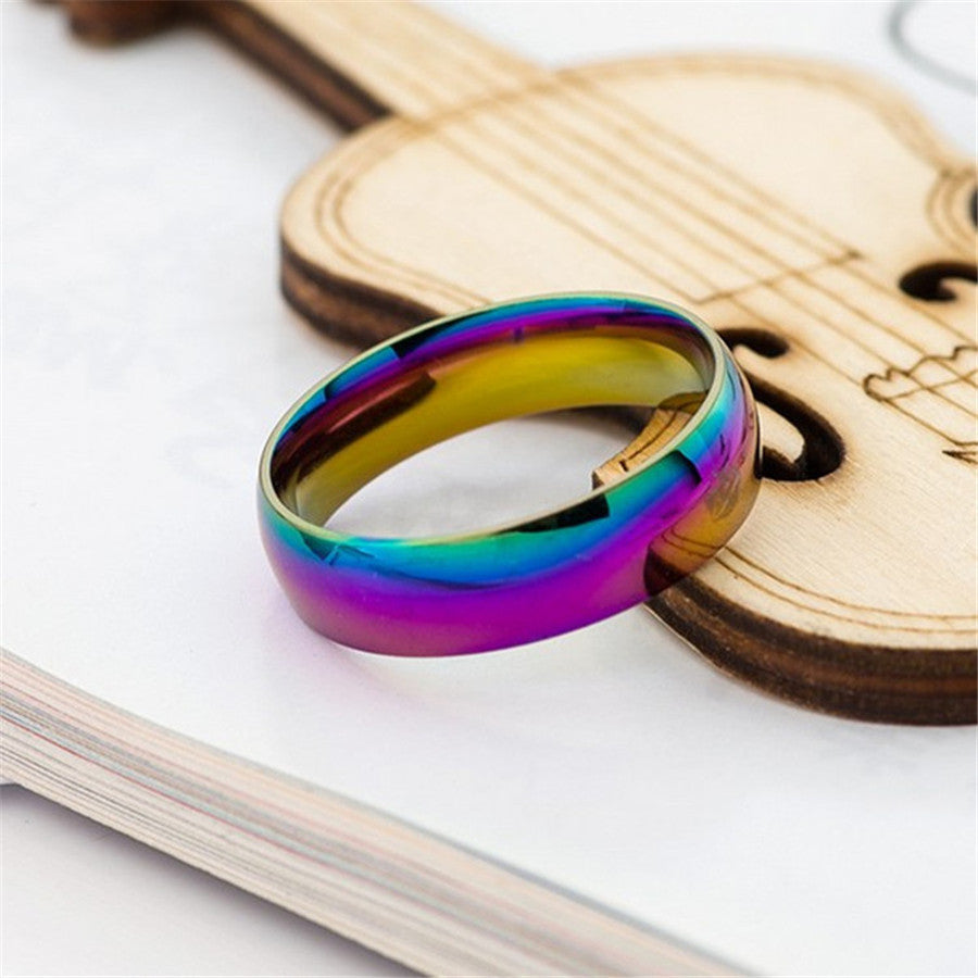 Classic Rainbow Colorful Ring Titanium Steel Wedding Band Ring Width 6mm Size 6-11 Gift for Men Women