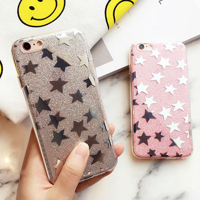 Fashion Glitter Powder Stars 6 6s Cover Cute Plating Sparkling Star Shine Phone Cases for iphone 5 5s SE 6 6s Plus Soft TPU Case