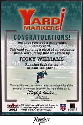 Image of 2002 Fleer Box Score Yard Makers Ricky Williams Jersey Relic DOLPHINS