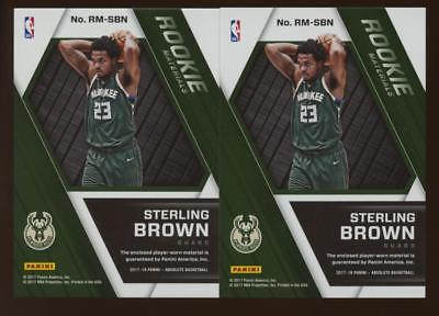 Image of (2) Card Lot 2017-18 Absolute Rookie Materials Jersey/PATCH Sterling Brown RC