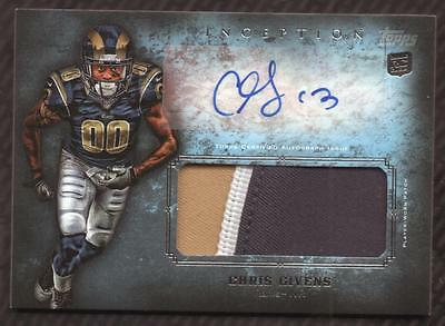 JC 2012 Topps Inception Rookie Jumbo Patch Autograph #AJPCGI Chris Givens AUTO