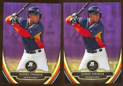 Image of (2) 2010 Bowman Platinum Prospects Purple Refractor George Springer Rookie Lot