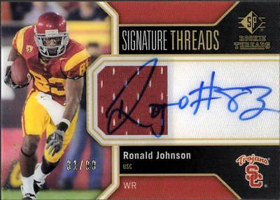 2011 SP SIGNATURE THREADS RONALD JOHNSON RC ROOKIE AUTO RELIC SC TROJANS #31/99