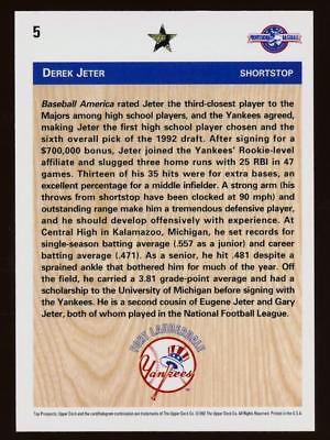 Image of 1992 Upper Deck Minors #5 Derek Jeter FDP ROOKIE YANKEES RC