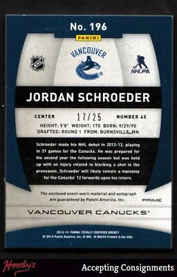2013-14 Totally Certified Jordan Schroeder 2 COLOR PATCH AUTO Autograph 17/25 RC