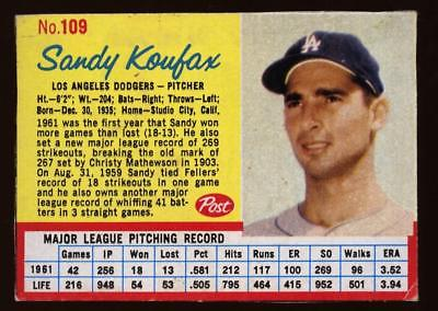 Image of 1962 Post #109 B Blue Lines Variant Sandy Koufax DODGERS