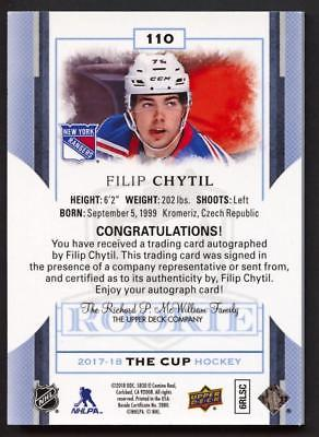 Image of 2017-18 Upper Deck The Cup Rookie Black #110 Filip Chytil Autograph AUTO 1/1 RC