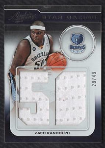JC 2012-13 Absolute Star Gazing #24 Zach Randolph Game Used Jersey 29/49