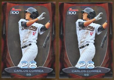 Image of (2) 2013 Bowman Top 100 Prospects #BTP28 Carlos Correa Rookie Card Lot RC ASTROS