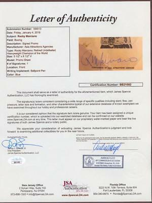 Image of ROCKY MARCIANO AUTOGRAPH AUTO FIGHT SUMMARY JSA CERT CREASING LIGHT STAIN