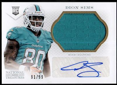 JC  2013 Panini National Treasures Rookie Signature Silver Dion Sims  #91/99