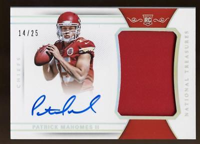 Image of 2017 National Treasures Holo Silver Patrick Mahomes II RPA PATCH AUTO 14/25 RC
