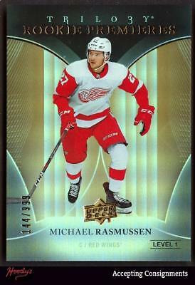 Image of 2018-19 Upper Deck Trilogy #75 Michael Rasmussen RC 144/999 ROOKIE RED WINGS RC
