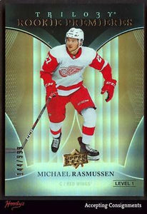 2018-19 Upper Deck Trilogy #75 Michael Rasmussen RC 144/999 ROOKIE RED WINGS RC